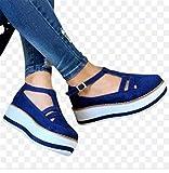 ZYLL Damen Sandalen Mode Quaste Casual Stil Damenschuhe Frauen Flache Schuhe Sommer Vulkanisierte Schuhe Feste Farbe Dicke Boden,Blau,37