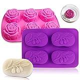 Chingde Moldes de silicona rosa molde de pastel de silicona moldes para hornear flor de moldes de jabón molde hecho a mano para gelatina pan pudín jabón artesanía casera de bricolaje
