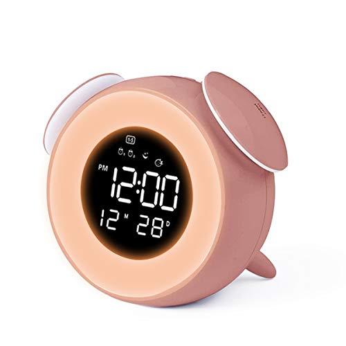 CHEREEKI Despertador Infantil, Reloj Despertador para Niños con 4 LED de Brillo/7 Colores/Dual Alarma/25 Musica, Despertador Niña con Control táctil Junto (Rosado)