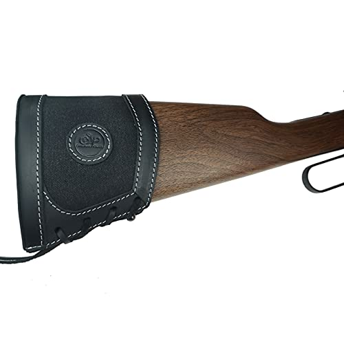 WAYNE'S DOG Leather Canvas Recoil Pad Extendable Stock Shotguns Rifles Slip On Buttstock Cover (Black)