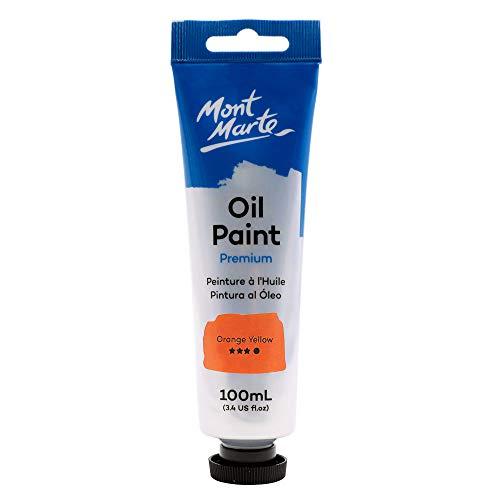 Mont Marte Premium Oil Paint, 100ml (3.4oz), Orange Yellow, Good Coverage, Excellent Tinting Strength