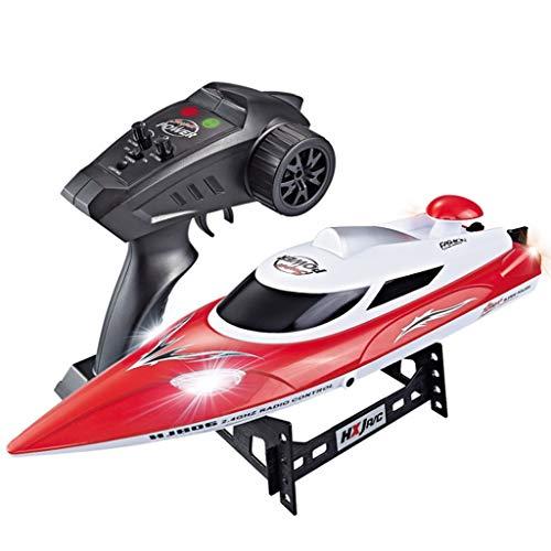 DEtrade RC Hochgeschwindigkeitsboot 35 km/h 200 m Steuerentfernung Schnelles Schiff RC-Bootsrennen Hohe Geschwindigkeit Ferngesteuertes Boot (Red)