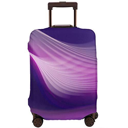 Cubierta de equipaje de viaje abstracta púrpura ondulada Líneas Maleta Protector lavable Cubiertas de equipaje
