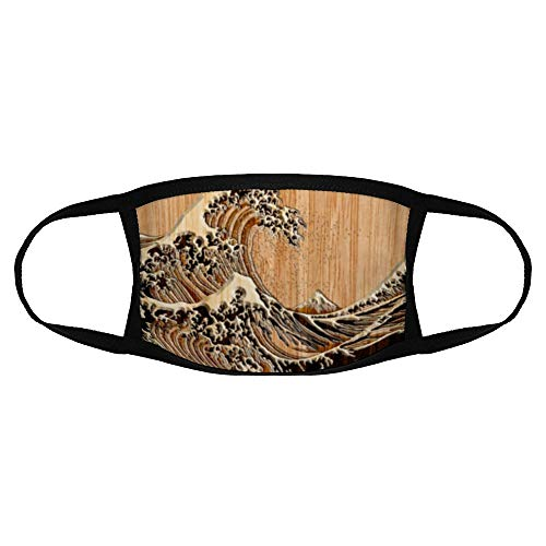 Tamengi The Great Hokusai Wave Bamboo Wood Grain Style Mouse Pad Face Protection with Ear Loops Reusable Washable Dust Cover for Outdoor Use