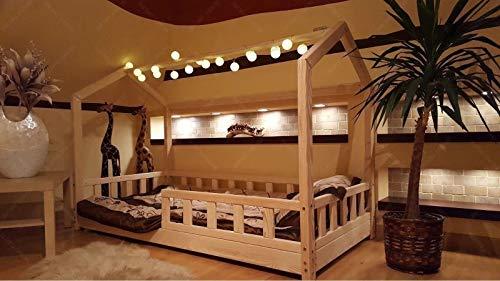 Letto per bambini in legno massiccio, naturale, design scandinavo, gioco creativo e addormentarsi da soli (200 x 120 cm,...