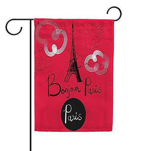 CHEHONG Drapeau de Jardin Tour Eiffel et Bonjour Paris Bannière Durable Extérieur Saisonnier Bienvenue Décoration Maison Drapeau, Polyester, Couleur 1, 12X18 inch