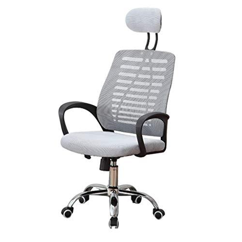 DJ Draaistoel, moderne minimalistische bureaustoel van mesh, voor thuiscomputerstoel, persoonlijke vergaderstoel, sponszitting, in hoogte verstelbaar, draaibare directiestoel, studentenstoel grijs