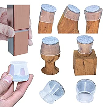 High transparency Chair Leg Covers Felt Bottom Soft Silicone Furniture Foot Protector Pads 16 Pcs Free Moving Table Leg Covers Stool Leg Protectors Caps to Prevent Floor Scratches and Reduce Noise.