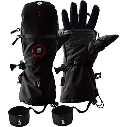 K&S The Heat Company Handwärmer Handschuhe Heat 3 Special Force Fingerhandschuh und Fäustling Wasserdicht Atmungsaktiv Primaloft Gold mit Echt Ziegenleder (Schwarz, 8)