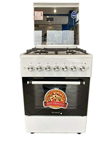 Cucina a gas 60x60 larel con forno a gas ventilato bianca griglie in ghisa pesante