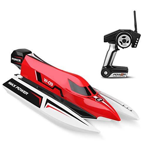 Weaston 50 km/h Fast RC Boat 2.4G Scala a Vasta Scala RC Ship Allarme Batteria Capitalize Recupero Laghi Giocattoli per Adulti Giocattolo per Bambini Regali Xmas
