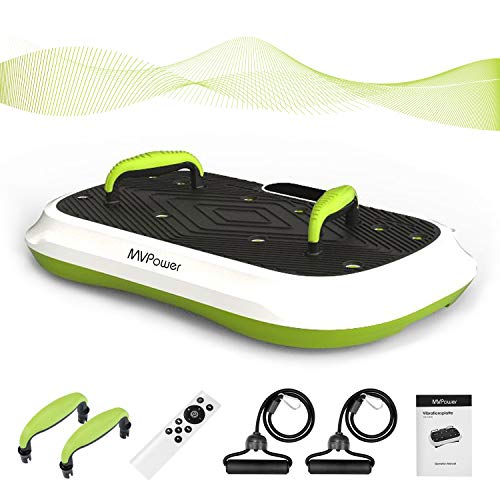 MVPower Fitness Ultraflache Vibrationsplatte mit leisem Motor | LCD Display |5 Trainingsprogramme, 120 Stufen| Bluetooth Lautsprecher | inkl. Fitnessgriffe, Fernbedienung, Trainingsbänder |Die Neueste