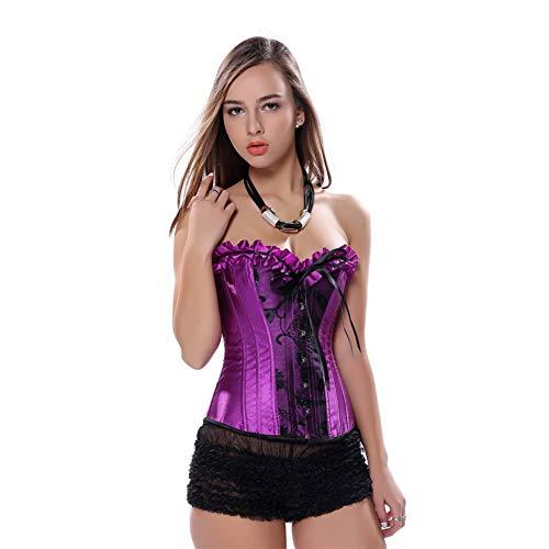 Enheng-SSY Sexy Corsetto di Carnevale di Raso Palazzo Caldo Ballerino Viola Vestito Lingerie Showgirl Top + Tutu Gonna Vita Bustier Plus Size S-6XL