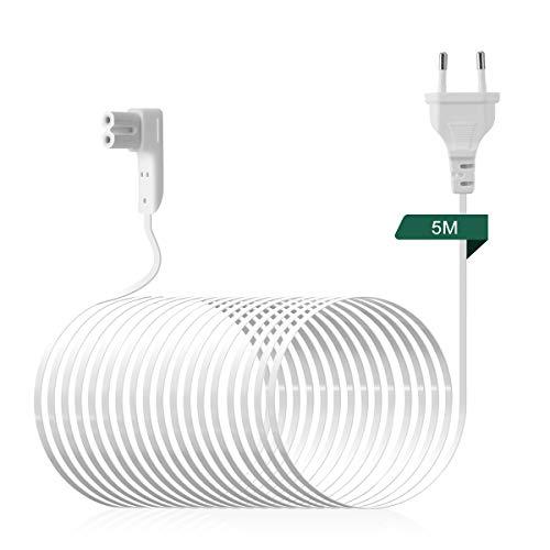 AIEVE 5M Netzkabel Stromkabel rechtwinkliges Kabel Zubehör für SONOS Play:1 und SONOS ONE WLAN Lautsprecher (weiß,EU Stecker)