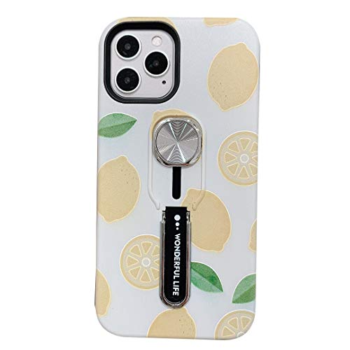Hosgor Compatible with iPhone 12/12 Pro with Finger Grip,Hosgor Fruit Design Rugged Shockproof Slim Soft TPU + Matte PC Dual Layer Ring Strap Cover for Apple iPhone 12/12 Pro 5G- 6.1inch(Lemon)