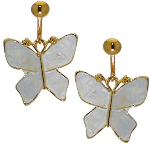 ISABELLA gold plated white butterfly clip on earrings