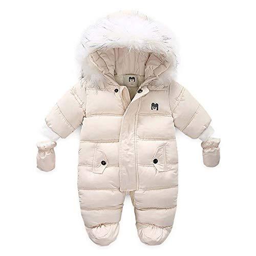 Bebé Mono Invierno para Recién Nacido Mameluco de Manga Larga y Capucha con Botines y Guantes Traje de Nieve con Relleno de Algodón Ropa de Una Pieza para Niños Niñas (Beige, 9-12 Meses)