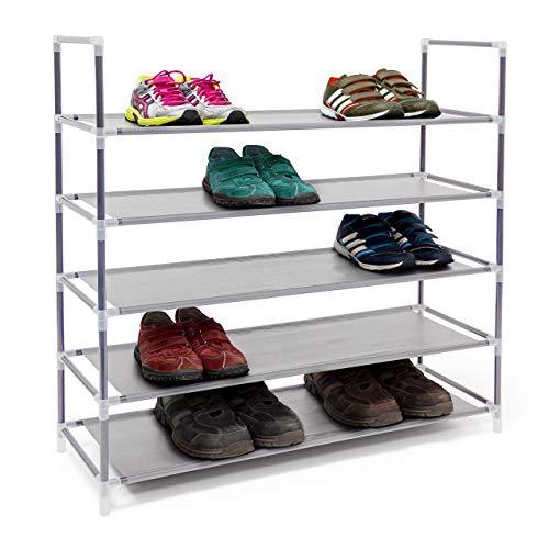 Relaxdays 1 x Schuhregal mit 5 Ablagen, Schuhablage für 20 Paar Schuhe, beliebig erweiterbar, HxBxT: 90,5x87x29,5 cm, grau