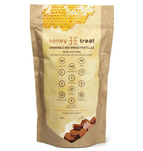 BEE Bread Chewable Pastilles by Honey Treat - Fermented Mixture of Bee Pollen - Organic Immune Support - Source of Amino acids and Natural Vitamins, 30 Servings, No Added Sugar or Chemicals