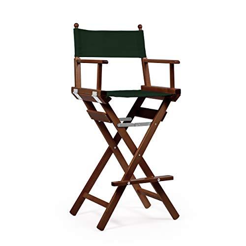 Telami - Sedia Regista Make Up - Collezione Ducale - Pieghevole e Leggera - Verde Bosco - Legno Tinto Noce - Made in Italy - Mobili da Esterno - Alta qualità - 118cm x 55cm x 45cm