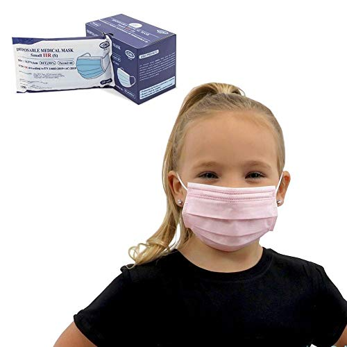 Para niños, 50 uds Mascarilla Quirúrgica IIR infantil Homologada CE | envío desde España (Rosa)