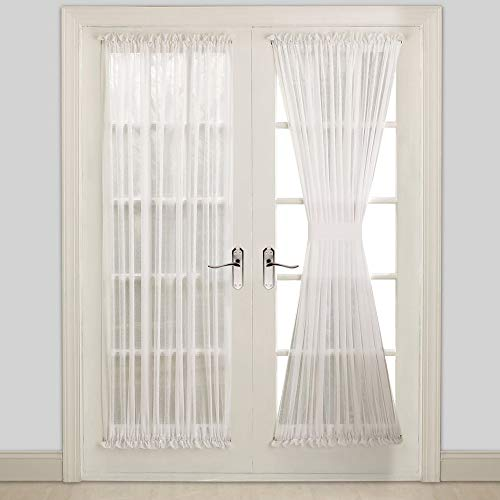 """WARM HOME DESIGNS Pair of Sheer White French Door Curtains in 40"""" (Width) by 72"""" (Length) Size. Our Sidelight Front Door Drapes Come with 2 Matching Tie-Backs. A White 40"""" x 72"""""""