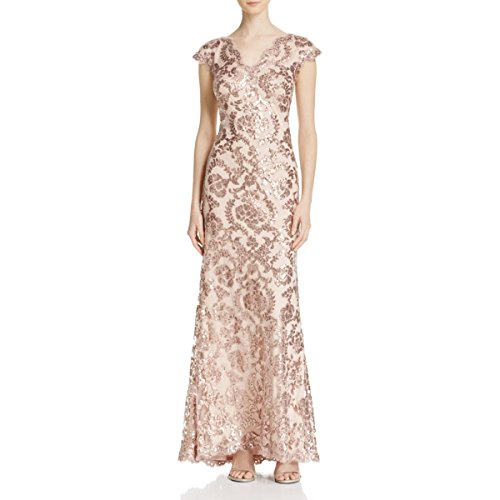 Tadashi Shoji Women's Sequin Lace Cap SLV Dress, Dusty Rose, 6 (Apparel)