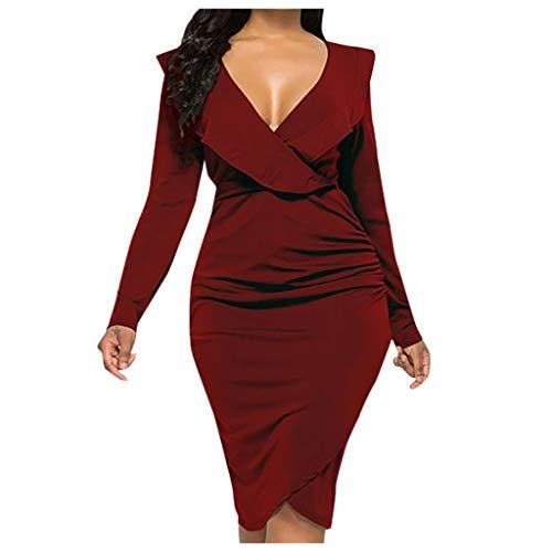 Briskorry festliche kleider lang Damen Sexy Cocktailkleid abschlussball Abiballkleid V-Ausschnitt Slim Fit Gekräuselt Lange Ärmel Einfarbig Paket Hip Kleid Festliches Kleid