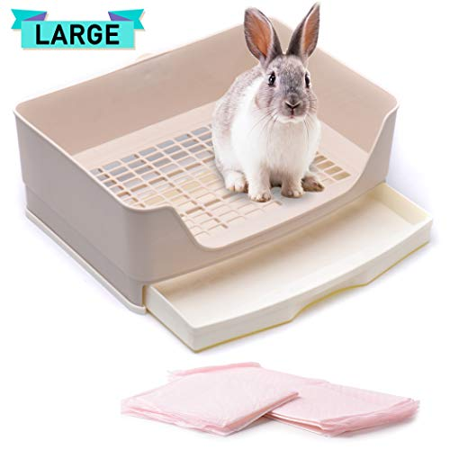 CalPalmy Large Rabbit Litter Box with Bonus Pads, Drawer, Corner Toilet Box and Bigger Pet Pan for Adult Guinea Pigs, Chinchilla, Ferret, Galesaur, Small Animals