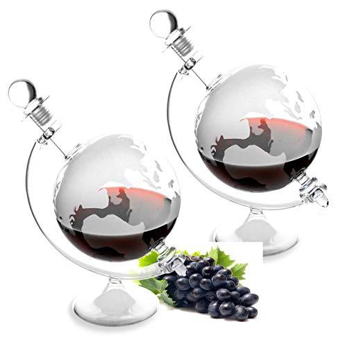 Lantelme 2 Stück Glaskaraffe Set Glas Karaffe Cognac Whiskey Likör Weinbrand Wein eingravierte...