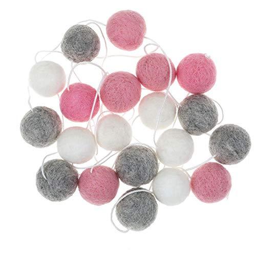 Mayitr Felt Wool Ball String Wall Hanging Pom Pom Garland Home Decorations 30mm Balls (White Gray Pink)