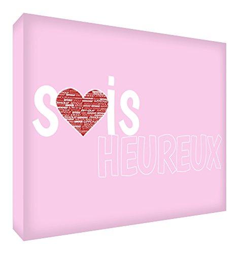 Feel Good Art Sois Heureux Bloc Décoratif en Acrylique Transparent Poli comme Diamant Rose Pâle 14,8 x 10,5 x 2 cm