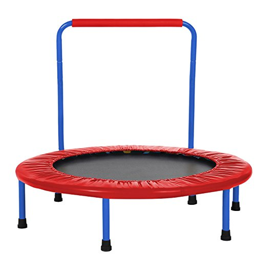 ANCHEER Kids Trampoline - 36 inch Fitness Trampoline with Handle bar, Foldable Jumping Cardio Trainer Workout for Adults or Children - 1 Year Warranty. (red)