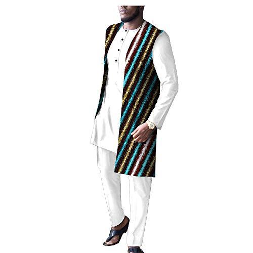 African Men Clothing White 3 Piece Set Print Coats Dashiki Shirts and Ankara Pants Tribal Suit Outfits 581 11 3XL