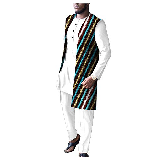 African Men Clothing White 3 Piece Set Print Coats Dashiki Shirts and Ankara Pants Tribal Suit Outfits 581 11 3XL