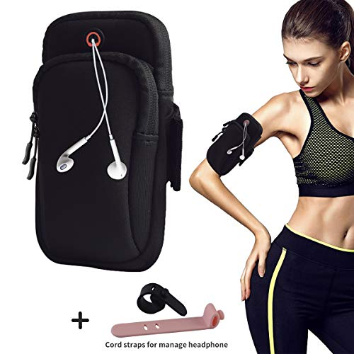 August Sport Running Arm Bag Holder for iPhone 7 6Plus 5 Samsung S8 7,Double Pouch Armband Phone Holder for Running Walking Hiking Biking Gym