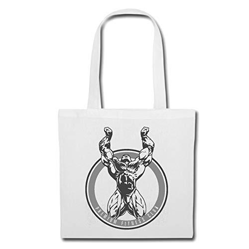 Tasche Umhängetasche Muskeln - Bodybuilding - Fitness - Kraftsport - Muskelaufbau Einkaufstasche Schulbeutel Turnbeutel in Weiß