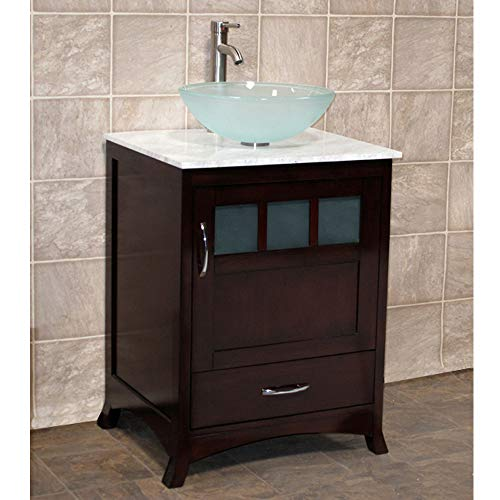 24' Bathroom Vanity CabiWhite Tech Stone/Quartz Top Glass