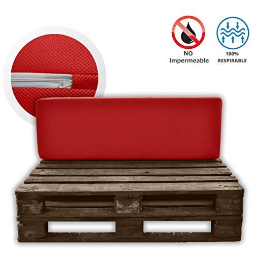 MICAMAMELLAMA Pack Asiento + Respaldo para Sofá de Palet Exterior e Interior - Funda Roja de Tejido 3D Hipertranspirable - Espuma HR Alta Densidad - Grosor 12cm