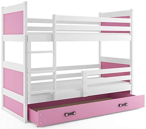 Interbeds Etagenbett Hochbett RICO 190x80cm Farbe: WEIβ + 2. Farbe zur Wahl mit Lattenroste, Schublade und Matratzen (rosa)