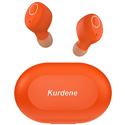 Bluetooth Earbuds,Kurdene Wireless Earbuds with Charging Case IPX8 Waterproof Bluetooth Headphones Bass Sound Earphones with Mics Touch Control in-Ear Headset for Sports,Home-Orange