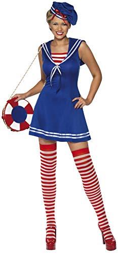 Smiffys, Damen Süße Matrosin Kostüm, Kleid, Barett und Strümpfe, Größe: M, 33074
