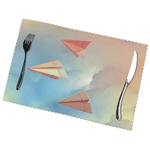 KAZOGU Juego de 6 manteles individuales de papel para mesa de cena, resistentes al calor, resistentes a los aviones