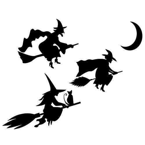 Custom Vinyl Pegatina Conjunto Tres Brujas y Luna (Medidas en descripción) (Negro)