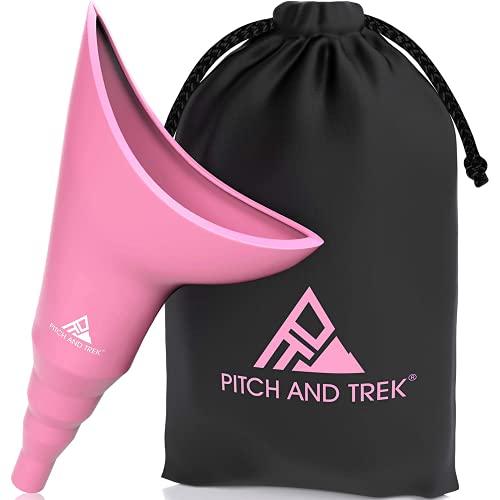 Pitch and Trek - Dispositivo Urinario Femenino – Orinal Portatil para Mujer - Bolsa de Transporte Discreta – Viajes, Camping, Senderismo, Actividades al Aire Libre y Más