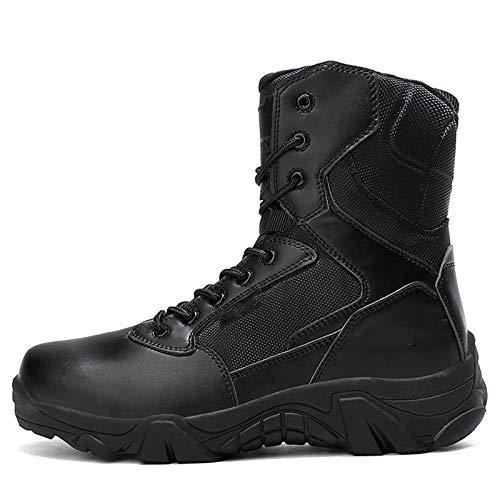 Botas Tácticas Militares Impermeables para Hombres Botas De Senderismo Half-Cut Outdoor Military Boots Anti-Collision Toe Light Y Bota De Combate Transpirable,Negro,46