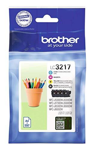 Brother LC3217VAL Cartucce InkJet Originali, Capacità Standard, per Stampanti MFCJ5330DW/MFCJ5730DW/MFCJ5930DW/MFCJ6530DW/MFCJ6930DW/MFCJ6935DW, Multicolore