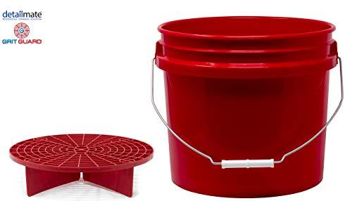 detailmate Red Bucket Set - Grit Guard Wasch Eimer rot 3,5 Gal (ca 12L) + GritGuard Schmutz Einsatz