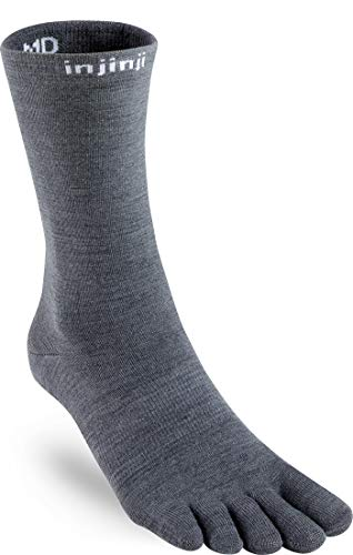 Injinji Liner Crew NuWool Socks (Medium, Charcoal)