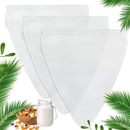 Nussmilchbeutel, Nut Milk Bags Passiertuch Wiederverwendbar, Nylonmaterial Cheesecloth, Seihtuch Zum Filtern Von Nussmilch, Kaffee, Nussmilchbeutel Mit Feinmaschigem Netz (Dreiecksform (3er Pack))